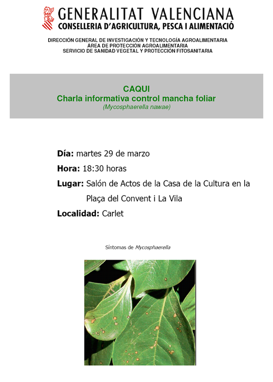 Charla Mancha foliar Caqui